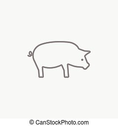 Pig line icon. - Pig line icon for web, mobile and...