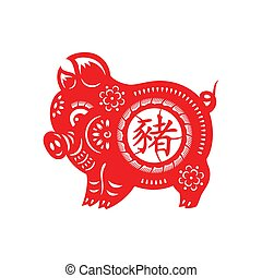 Pig Lunar year ornament - Pig Lunar year papercut big floral...