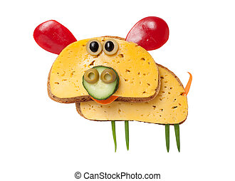 Pig made of bread and cheese on white background