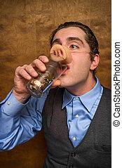 Pig Man Banker - Silly pig man eating lose change for...
