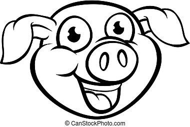Pig Mascot Cartoon Character - A happy pig cartoon character...