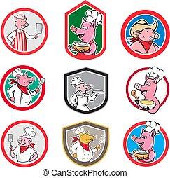 pig-mascot-worker-cartoon-icon-set