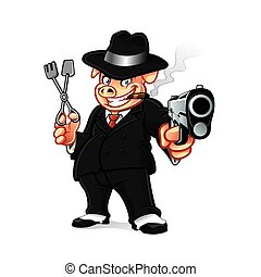 Pig Mob BBQ - cartoon pig mobsters was put the gun while...