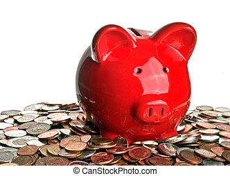 Pig, money, and savings - Red piggy bank isolated on white...