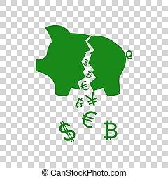 Pig money bank sign. Dark green icon on transparent background.