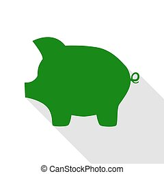 Pig money bank sign. Green icon with flat style shadow path.