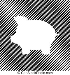 Pig money bank sign. Vector. Icon. Hole in moire background.
