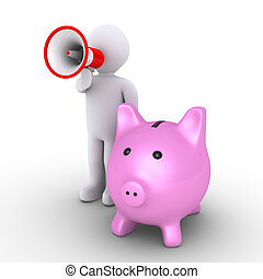 Pig money box and person with megaphone