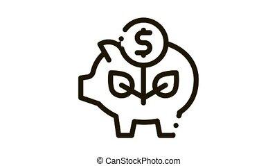 pig money box Icon Animation. black pig money box animated icon on white background