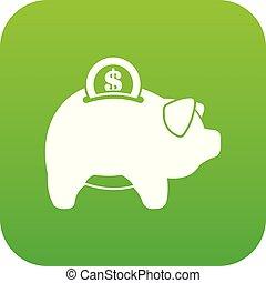 Pig money box icon digital green