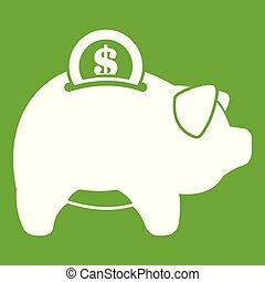 Pig money box icon green