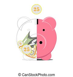 Pig money box in the cut. On a white background. Vector illustration.
