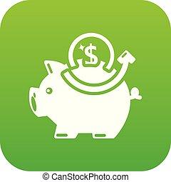 Pig money icon green vector