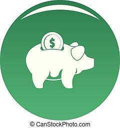 Pig money icon vector green