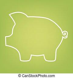 Pig money line icon