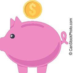 Pig moneybox.
