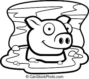 A happy cartoon pig in the mud.