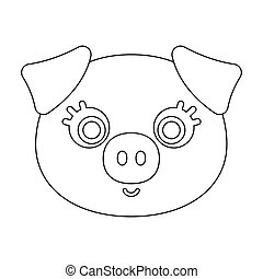 Pig muzzle icon in outline style isolated on white...