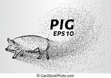 Pig of the particles. Pig consists of circles and points. Vector illustration