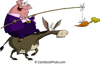 Pig on a donkey - Pig rides on a donkey, vector illustration