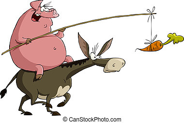 Pig on a donkey - Pig rides on a donkey, vector illustration