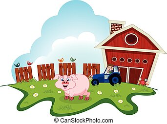 Pig on farm for your design