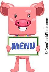 Pig on menu, illustration, vector on white background.