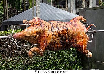 Pig on spit roast