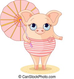 Pig on the beach - Pig dressed a swimming suite under...