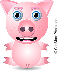 Pig or piglet - Cute animal character isolated on white...