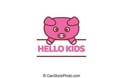 pig or piglets with banner line cute cartoon logo vector illustration design