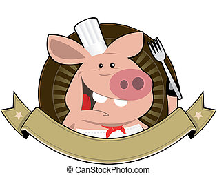 Pig Palace Banner - Illustration of a pig chef cook banner...