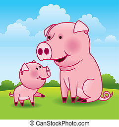 Sweet vector cartoon illustration of a mother pig and her playful piglet.