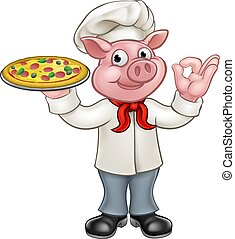 Pig Pizza Chef Cartoon Character Mascot