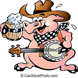 Pig playing banjo - Hand-drawn Vector illustration of an pig...