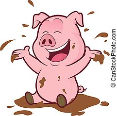 Pig playing in the mud - Clipart picture of a pig cartoon...
