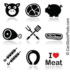 Pig, pork meat - ham and bacon icon - Food vector icons set...