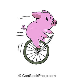 Pig riding a vintage monocycle Ilustra??o