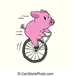 Pig riding a vintage monocycle.Vector illustration