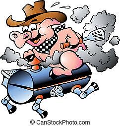 Pig riding on a BBQ barrel - Handdrawn vector illustration