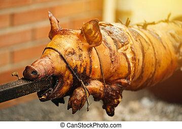 Pig roasted on a spit