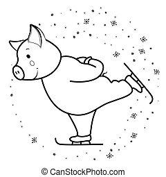 Pig runs on skates symbol 2019