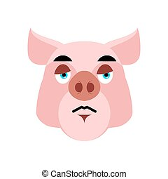 Pig sad Emoji. piggy sorrowful emotion on white background. Farm animal