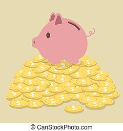 Pig-shaped money box standing on golden coins