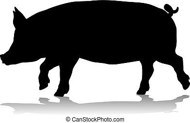 A pig silhouette farm animal graphic