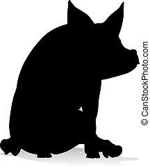 Pig Silhouette Farm Animal