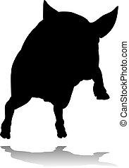 Pig Silhouette Farm Animal - A pig silhouette farm animal...