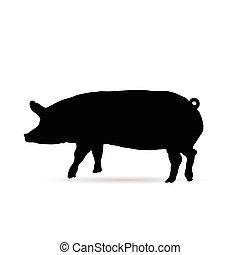 pig silhouette in black
