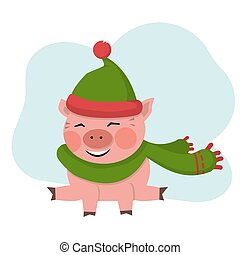 Pig sits with green hat isolated over white vector