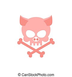 Pig skull with bones. Head skeleton of  pig. Logo for Halloween. Pink skull farm animal